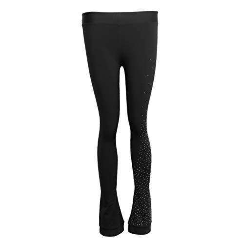 CUTICATE Frauen Mädchen Eiskunstlaufkleid Praxis Fleece Hosen Hosen Strumpfhosen - 2XS