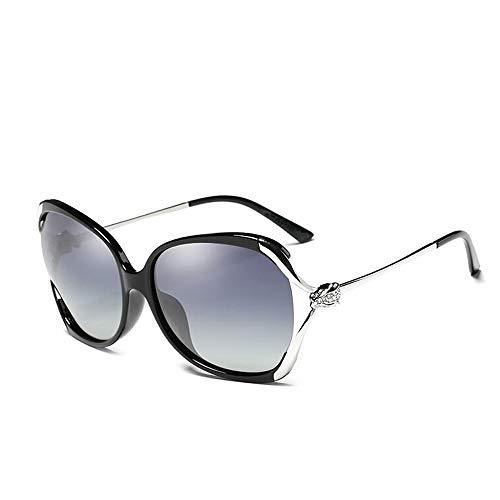 LYQZ Polarisierte Sonnenbrille Weibliche Runde Gesicht Großen Rahmen Openwork Strass Mode Elegant Fahren Sonnenbrille (Farbe : SCHWARZ)