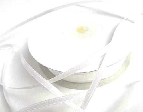 CaPiSo 100m 3mm Breit Satin Schleifenband Geschenkband Satinband Dekoband Hochzeit Weihnachten (Weiss)