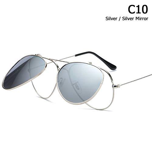 AOCCK Sonnenbrillen,Brillen,Vintage POLARIZED Aviation Style Flip Up Lens Sunglasses Men Classic Driving Brand Design Sun Glasses Oculos De Sol 1050 C10