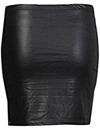 Classy Fashion Damen Mini Wet Look Shinny Kunstleder kurze PVC Rock 34dcd1190f