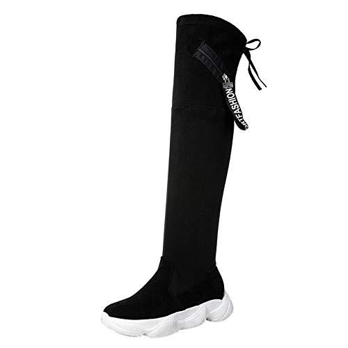 Beikoard Frauen Skinny Boots Oberschenkel Hohe Stiefel Schuh Kniehoher Flacher, Dicker unterer Stiefel Party Schuhe High Heel Stiefel Oberschenkel ()