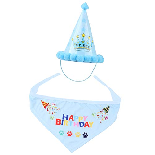 perfk Haustier Geburtstagshut Partyhut mit Happy Birthday Dreieckstuch für Hunde und Katzen - Blau