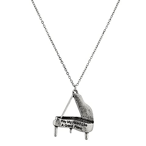 Lux Accessoires Play My Heart comme un grand piano Pianiste Musique Lover Charme Collier.
