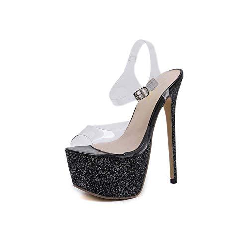 (GHFJDO Pleaser Heels, Plateau-Sandale mit Knöchelriemen, mit Stripper-Schuhen Klare High Heels Transparenter Riemen-Beleg,Clear,39EU)