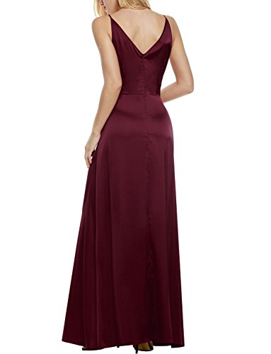 ANGVNS Damen Elegant Cocktailkleid V-Ausschnitt Rückenfrei Abendkleid Lang Party Ballkleid -