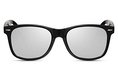 Cheapass Sonnenbrille Schwarz Glänzend Silber-ne Gläser UV-400 Recht-Eckig Plastik Damen Herren