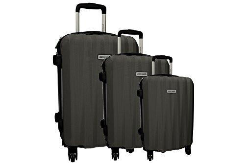 3 Maletas rígidas PIERRE CARDIN gris 4 ruedas cabina para viajes VS224