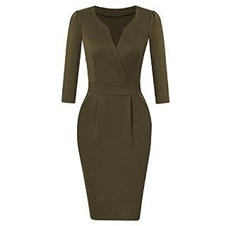 KOJOOIN Women's V-Neck Business Slim Bodycon Workwear Pencil Dress Army Green-Long Sleeve XL
