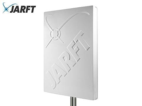 JARFT J4GMB-14-DOMPA | Leistungsstarke Multiband 800/1800/2600 MHz LTE / 4G Antenne, 14dBi Leistungsgewinn, Wetterfest, inklusive 5m TWIN-Kabel - Richtantenne passend zu Speedport LTE / LTE II / Hybrid, Speedbox LTE / LTE II / LTE III, Easybox 904 LTE / B1000 / B2000 / B3000 / B4000, O2 LTE Router, FritzBox LTE- Router, Huawei B390 / B593 / B890 / E5186, D-Link DWR-921, Teltonika RUT550 / RUT950 / RUT955