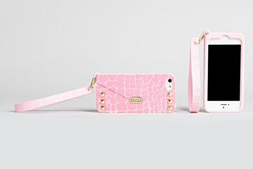 Oblige OBI42050 Ribbon Custodia Cover Case Accessorio per Cellulare Smartphone Apple iPhone 4/4S, Verde Chiaro Rosa Crocodile