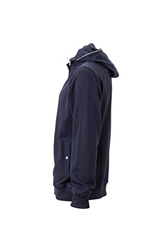 James & Nicholson Herren Hooded Jacket Sweatshirt Blau (Navy)