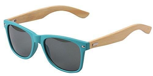 BOZEVON Gafas de sol de Bambú de las Piernas de la Manera UV400 Verde