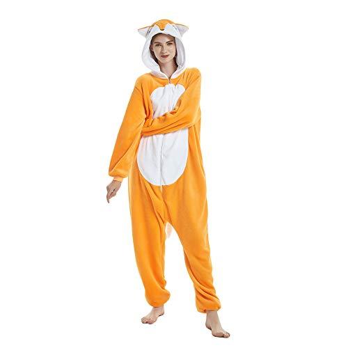 Missley Einhorn Pyjamas Kostüm Overall Tier Nachtwäsche Erwachsene Unisex Cosplay (M, Fuchs)