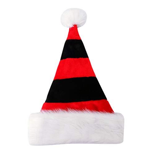 BESTOYARD Plüsch Weihnachtsmütze Nikolausmütze Weihnachtshüte Weihnachtsschmuck Xmas Party Deko für Kinder Erwachsene Weihnachtsmann Kostüm (rot und schwarz)