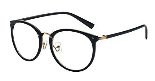 ALWAYSUV Retro Metall Steg Klare Linse Rund Optische Stärke Rahmen Brillenfassung Schwarz