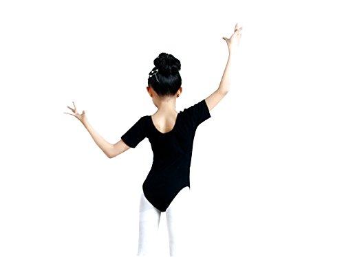 J&E-Maillots Maillot de Danza ,Gimnasia Leotardo, Estirable de Ballet Body de Manga Corta, modelo clásico para niñas8-10 years old