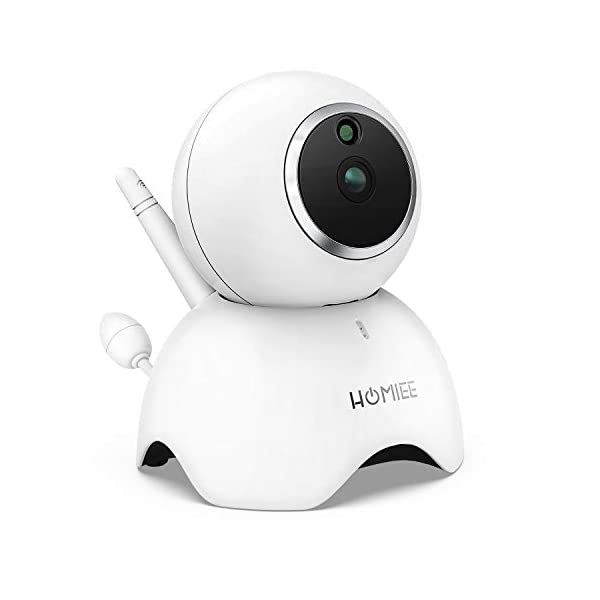 HOMIEE 720P Camera Exclusive for HOMIEE Baby Monitor, Two Way Audio, Night Vision, VOX, Lullaby, Sound & Temperature Alert, 1000ft Connection (Additional Camera) HOMIEE 【Version Compatibility】This additional camera is only compatible with HOMIEE Baby Monitor White (ASIN: B07W8NFSPX). If you don't know how to pair, please contact us, we will send you instructions. 【Night Vision】The baby camera features an invisible IR LED sensor for Infrared Night Vision (range can up to 5 meters) to deliver clear videos in darkness without disturbing the baby. it will alarm when baby is crying and temperature gets too high or too low. 【355 -Degree Omnidirectional Coverage】The camera can be wireless controlled to rotate about 355 degree horizontally, to bow and lie down between 70 degree at most. HOMIEE video baby monitor also supports zoom for closer views on screen. 1