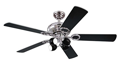 31LG7BYjzVL - Westinghouse Ceiling Fans 78753 Helix Fusion Four-Light 132 cm Five-Blade Indoor Ceiling Fan, Chrome Finish with Opal Frosted Glass