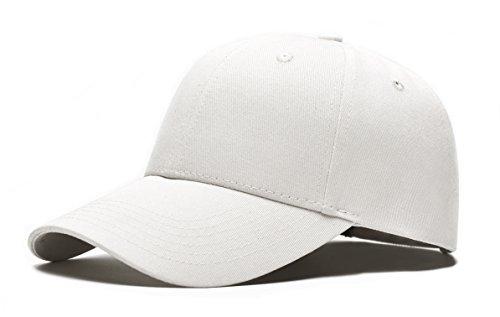 Youson Girl Homme Femme Couleur Unie Casquette Baseball Hip-hop Snapback Chapeau Bonnet Golf Visière Sport (blanc)