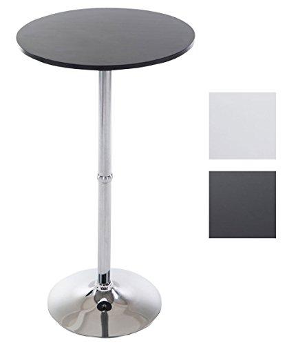 CLP Table de Bar Ronde en Bois - Table de Gastronomie avec pied en Métal et Plateau en Bois -Table Mange Debout Diamètre 60 cm - Hauteur 110 cm Couleur: Noir