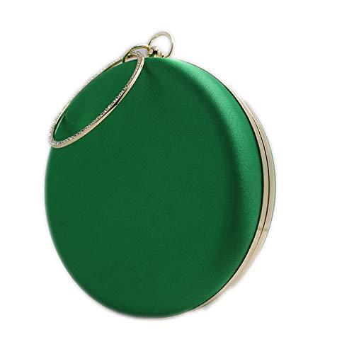 smile-coco Abendtasche/Abendtasche aus Seide/Satin, rund, Rot/Grün, Green Gold Frame - Größe: Einheitsgröße -