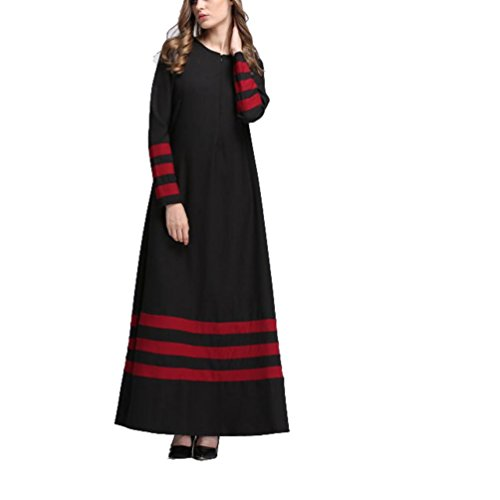 rauen Islamische Striped Plus Size Middle East Langes Kleid Religiöse Kostüm(Schwarz,EU-38/CN-M) (70er Jahre Plus Size Kostüme)