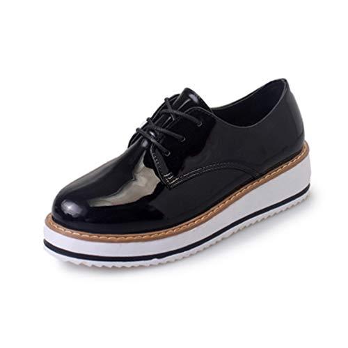Frauen-MüßIggäNger-Ebene-Plattform-Schuh-Spitze-Oben Runde Zehe-Flache PräGnante Freizeit-Oxfords Feste ZufäLlige Schuhe