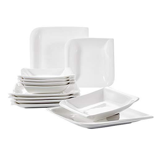 Vancasso, Yolanda Porzellan Tafelservice, 12-teilig Tellerset, Kombiservice für 6 Personen, mit je 6 Speiseteller und Suppenteller