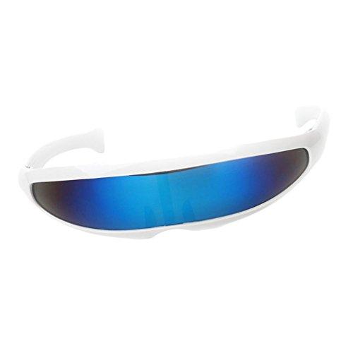 B Baosity Herren Damen Verspiegelte Sonnenbrille Futuristische Alien Cyclops Foto Prop Fotorequisiten - Weiß Blau
