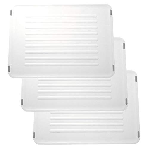 Coninx Set von 3 Schneidebrett Kunstoff Frühstücksbrettchen Weiß - Brotzeitbrett Set - 37 * 27 cm