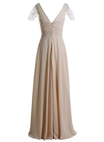 Bbonlinedress Robe de cérémonie et de demoiselle dhonneur A-line plissée perles manches chauve-souris longueur ras du sol en mousseline Blanc
