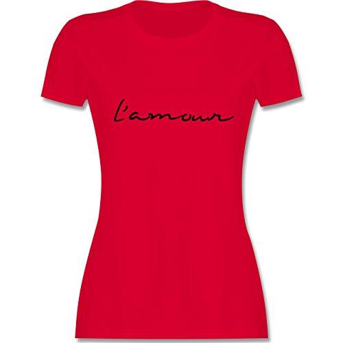 Statement Shirts - l'amour Liebe - tailliertes Premium T-Shirt mit Rundhalsausschnitt für Damen Rot