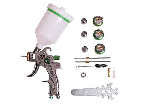 Pistola de aire para alimentación por gravedad HVLP, herramienta pulverizadora para retocar pintura, juego con botella 600 CC con boquillas de 1,4 mm, 1,7 mm, 2 mm - BMG