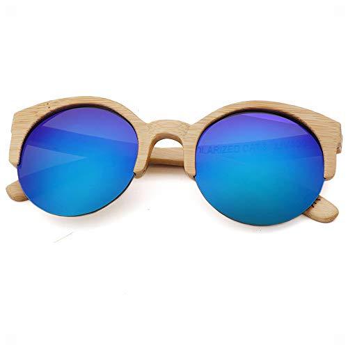 YanyanNKC Half Frame Bambus Brille Trendy Runde Sonnenbrille 5.5 * 5.5In C