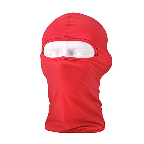 Masque de moto thermique en soie synthétique ultra fine pour l'été - Masque de ski - Cagoule - Rouge