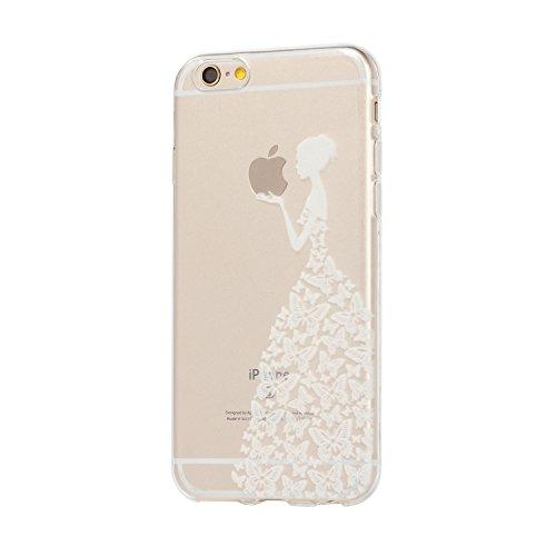 Für iPhone 6 6S Hülle Fall , IJIA Weiß Mädchen Schmetterling Weich TPU Case Durchsichtig Schutzhülle Silikon Crystal Transparent Cover Hülle für Apple iPhone 6 6S 4.7