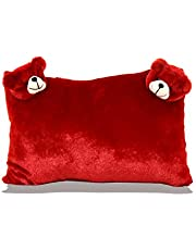 Planet of Toys 2 Face Teddy Pillow for Kids - Red