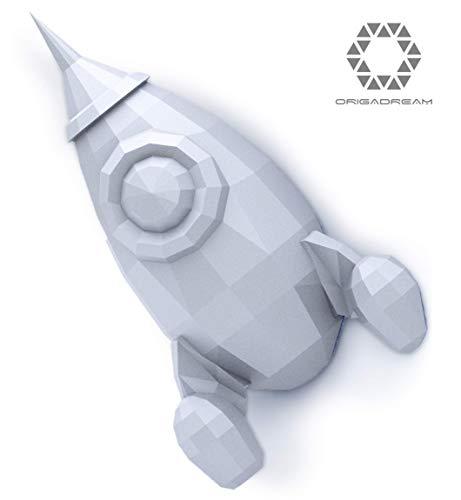 Raketen Kit NEUE MODERN 3D PUZZLE Papier Skulptur zum Zusammenbauen für die Wanddekoration DIY PAPERCRAFT Low Poly Montage Papierskulptur ORIGADREAM