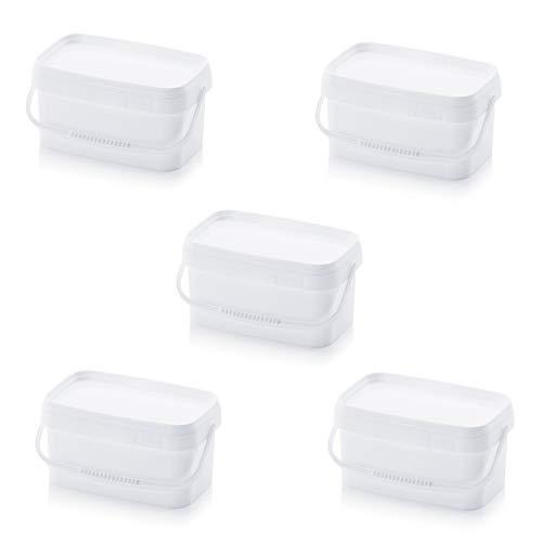 5x Eimer 2,6l rechteckig * 2l 2,5l * lebensmittelecht stapelbar Kunststoffeimer 2,5 2 Liter weiß -