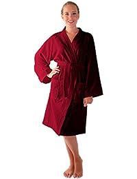 Archee - Peignoir de bain en éponge court en stil kimono pour femme 100% Coton Tissu bouclette doux et léger Robe de chambre