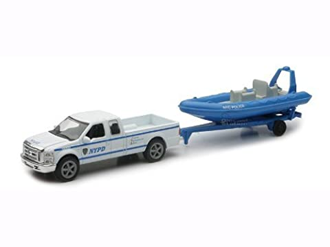 NYPD Ford F-250 Pickup & Inflatable Boat Set 1/43 by New Ray