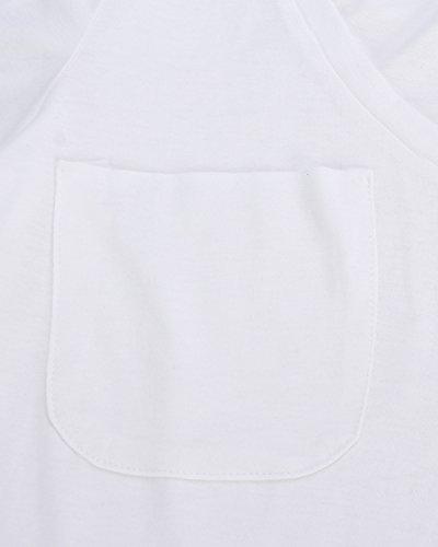 StyleDome Femme Coton Shirt Col V Manches Courtes Casual Lâce Large Haut Tops Blouse Chemise Blanc 599324