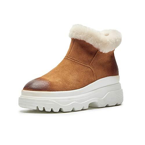 YAN Damen warme Stiefel Wildleder Plattform Booties hohe Freizeitstiefel Schnee Mode Stiefel Outdoor Wanderschuhe Freizeitschuhe Wanderschuhe (Farbe : Braun, Größe : 39) -