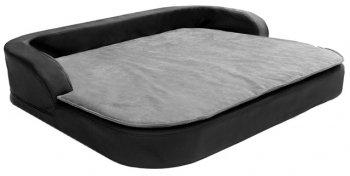 Orthopädisches XXL Hundekissen Medical Style Plus 120x100x13cm Kunstleder schwarz mit grauer Decke