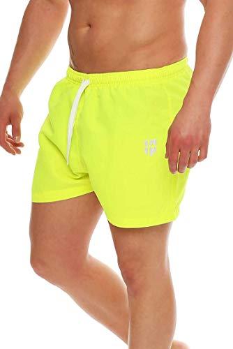 Gennadi Hoppe Herren Badeshorts kurz Badehose Strand Shorts Boardshorts,neon gelb,XXXX-Large