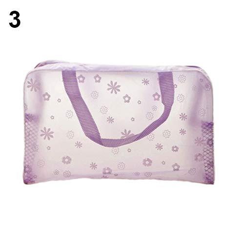 Trousse de toilette transparente avec poignée, motif floral, transparent, étanche et transparente, pour voyage, voyage, voyage, école, etc. violet violet