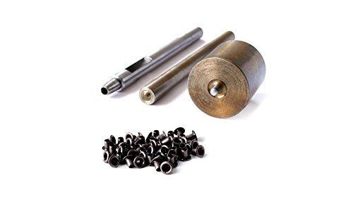 Set von 3: sterben Set, hohl Locher, und 100Stück von 2mm Ösen-Tülle Fassung Tool Kit für für Kleidung, Lederwaren und Scrapbooking-Unterlegscheiben nicht im Lieferumfang enthalten gun metal Kleidung Tool
