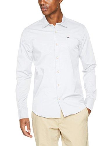 Tommy Jeans Herren Freizeithemd TJM Original Stretch Shirt, Weiß (Classic White 100), Large