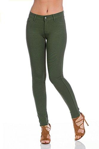 Freyday Modische Damen Jeggings Leggings Hüfthose Stretch Slimfit (XS / 34, Khaki)